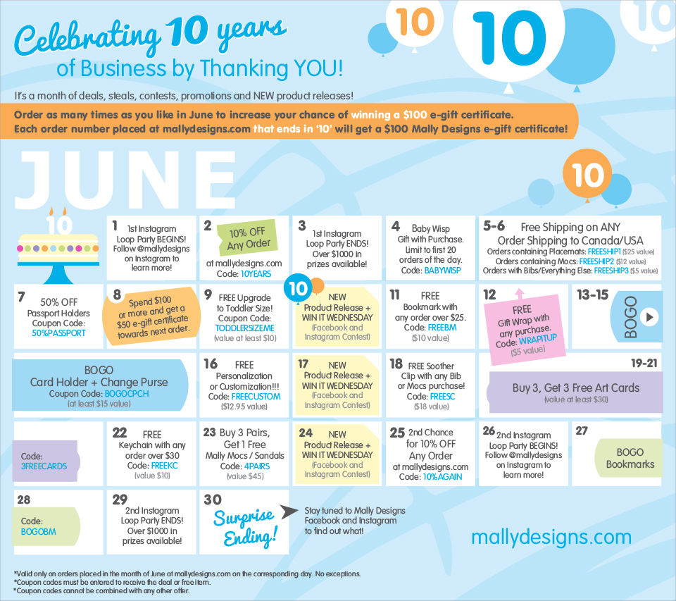 Mally Designs 10th Birthday Month Long Events Calendar