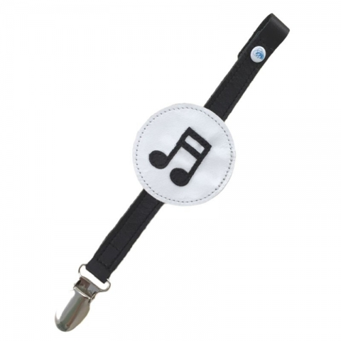 monochrome music notes soother clip