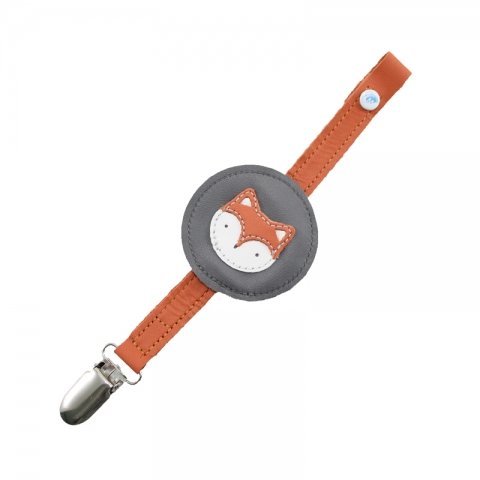 fox baby safe leather soother clip