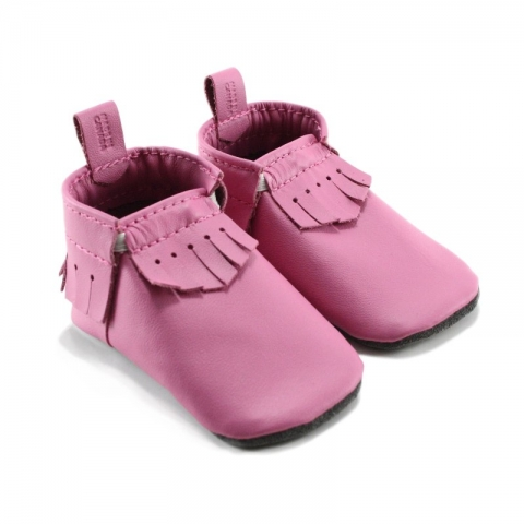 bubblegum leather baby moccasins