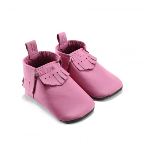mally mocs baby moccasins with fringe - bubblegum