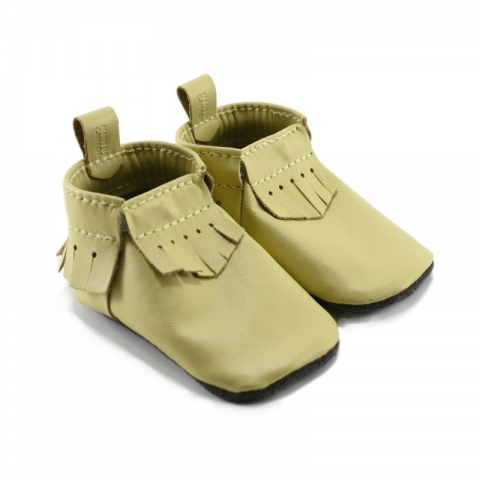 yellow leather baby moccasins