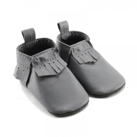 grey leather baby moccasins