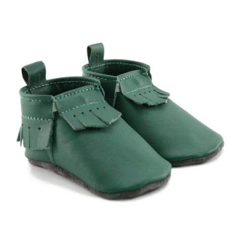 dark green leather baby moccasins