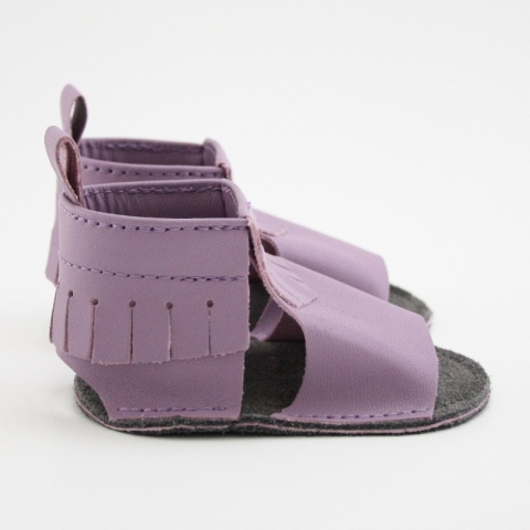 lilac mally mocs sandals with fringe