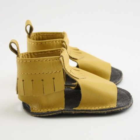 mustard mally mocs sandals with fringe
