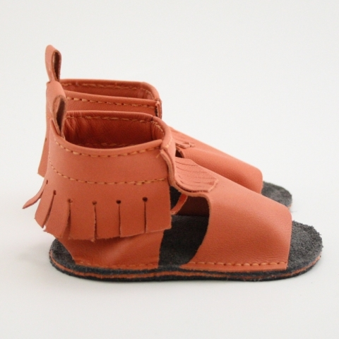 tangerine mally mocs sandals with fringe