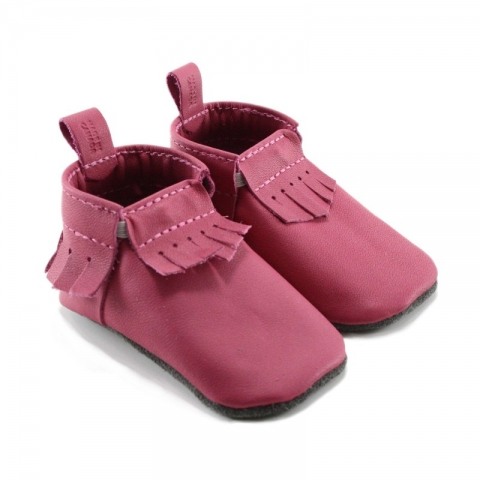 fuchsia leather baby moccasins