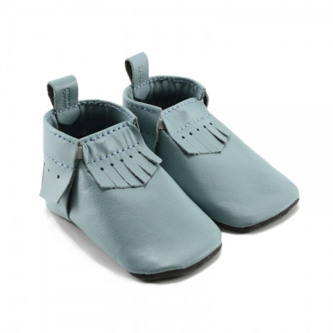 light blue leather baby moccasins
