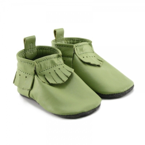 green leather baby moccasins