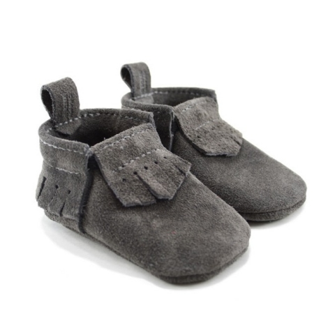 dark grey suede leather baby moccasins
