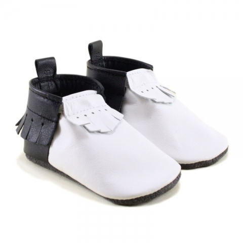 penguin - black and white two tone mally mocs with fringe