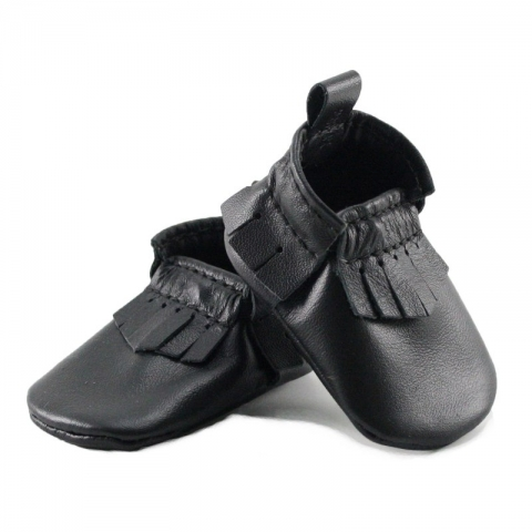 newborn mally mocs - black with fringe