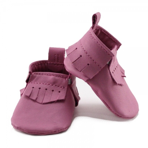 newborn mally mocs - bubblegum with fringe