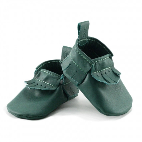 newborn mally mocs - evergreen with fringe