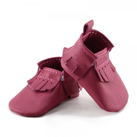 newborn mally mocs - fuchsia with fringe