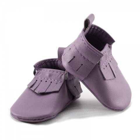 newborn mally mocs - lilac with fringe