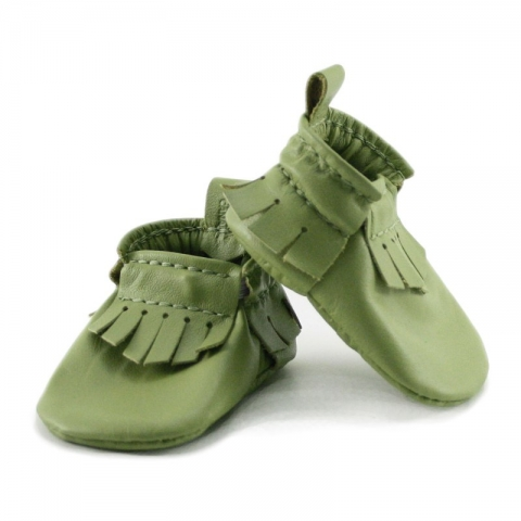 newborn mally mocs - lime with fringe