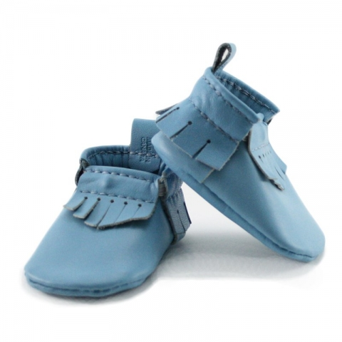 newborn mally mocs - sky with fringe