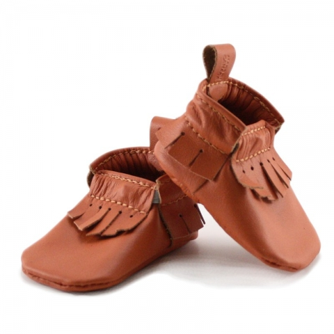 newborn mally mocs - tangerine with fringe