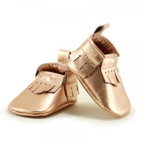 rose gold newborn mally mocs