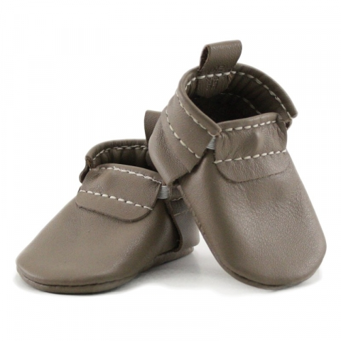 newborn mally mocs - latte with no fringe