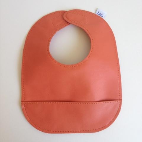 mally bibs solid leather bib - tangerine