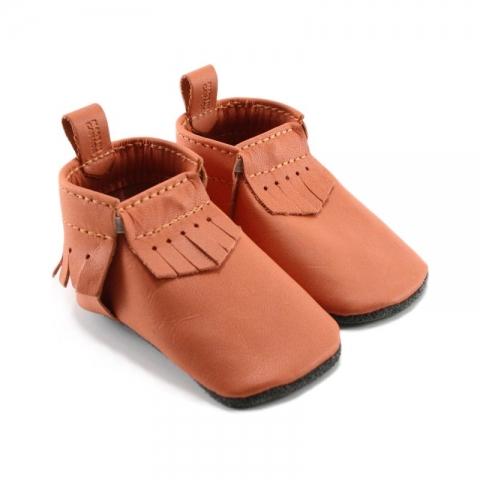 orange leather baby moccasins