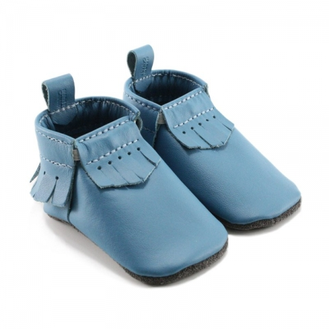 turquoise leather baby moccasins