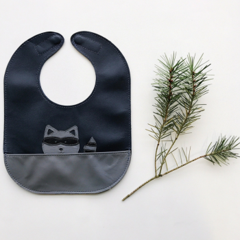 Raccoon leather bib