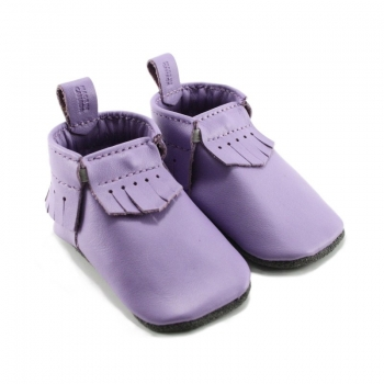 purple leather baby moccasins