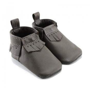 dark brown leather baby moccasins