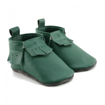 dark green leather baby moccasins