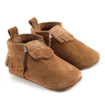 Chestnut Lux Suede Mally Mocs With Fringe