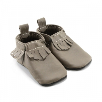 light brown leather baby moccasins