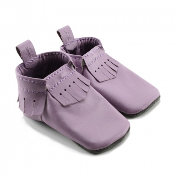 lilac leather baby moccasins