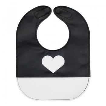 monochrome heart baby bib