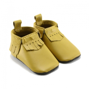 dark yellow leather baby moccasins