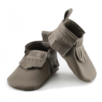 newborn mally mocs - latte with fringe