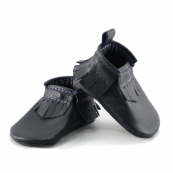 newborn mally mocs - midnight with fringe