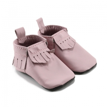 light pink leather baby moccasins