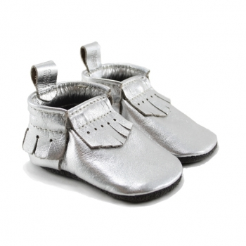 metallic silver leather baby moccasins