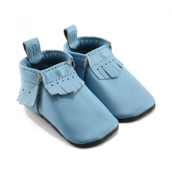 sky blue leather baby moccasins