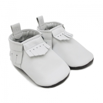 white leather baby moccasins