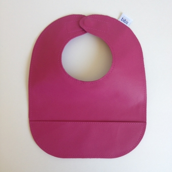 mally bibs solid leather bib - fuchsia