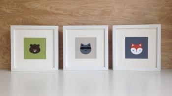 art cards, woodland animals nursery decor