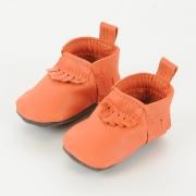 orange leather baby moccasins baby mocs