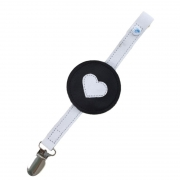 monochrome heart soother clip