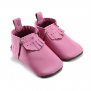 bubblegum leather baby moccasins