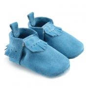 Arctic Blue Lux Suede Mally Mocs With Fringe